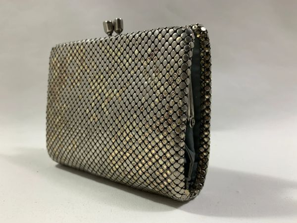 Glomesh Silver Tarnished Tone Vintage 1960s Purse Wallet Duck Egg Fabric Lined.