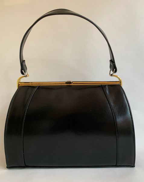 Black Calf Leather 1950s Vintage Handbag With Buff Leather Lining And Elbief Frame