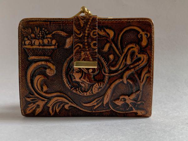 Vintage 1960s Spanish Souvenir Tan Tooled Leather Purse Mini Wallet Tan Leather Lining