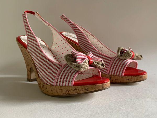 ODEON Vintage 1950s Inspired Rockabilly Red White Striped Sandal Shoe Size UK 4. EU 37