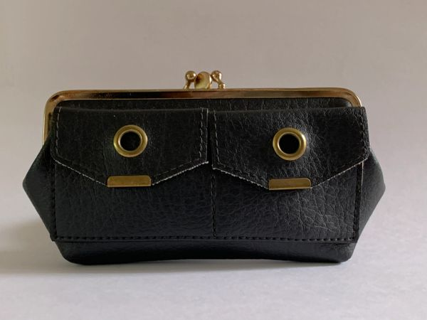 Vintage 1950s Black Faux Leather Double Sided Coin Purse With Faux Suede Lining.