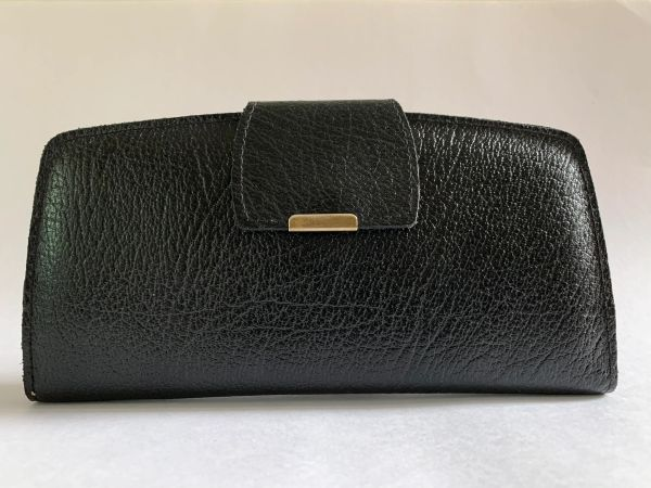 Vintage 1970s Large Black Textured Leather Coin Purse Wallet With Leather Lining