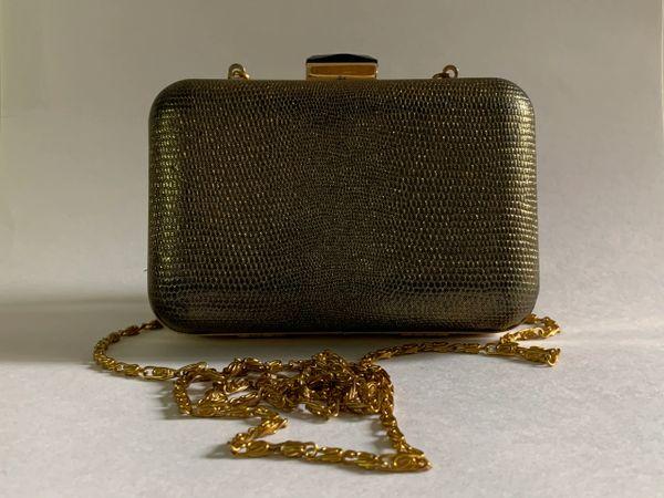 Accessorize Small Gold Lamé Glitter Clutch Shoulder Bag Glass Clasp Removable Gold Chain Strap