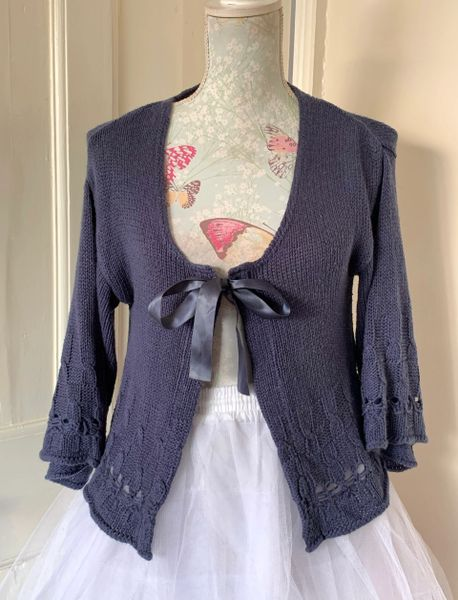 Phildar Blue Acrylic Tie Front Loose Fit Short Cardigan Size S (10-12).