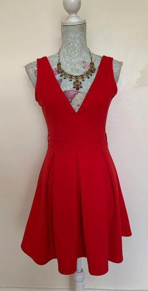 QUIZ Red Deep V Front & Back Plunge Neck Short Tunic Skater Dress Top UK Size 10