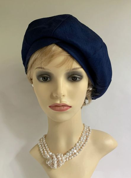 Vintage 1960s Segmented French Blue Fully Lined Floppy Beret Loose Bow Detail