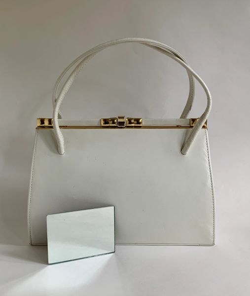 Vintage 1950s White Leather Handbag Buff Suede Lining Elbief Frame And Mirror.