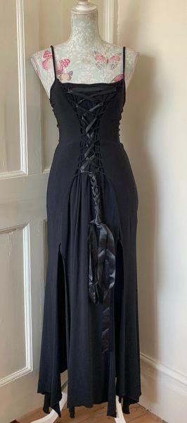 Truelight Black Gothic Lace Front Split Front Soaghetti Strap Long Dress Size XL - see measurements.