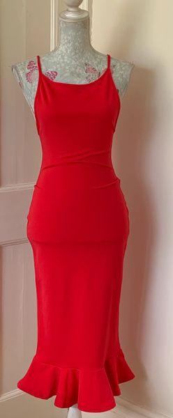 Pretty Little Thing Red Midi Fluted Hem Spaghetti Strap Body Con Pencil Dress Size 10.