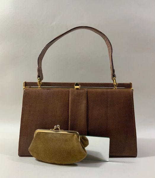 Jane Shilton Tan Lizard Vintage 1950s Handbag Buff Suede Lining And Coin Purse