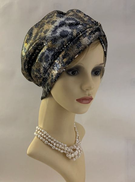 Vintage 1950s Inspired Sequinned Gold Black Silver Stretch Turban Chemo Unlined 22 Inches