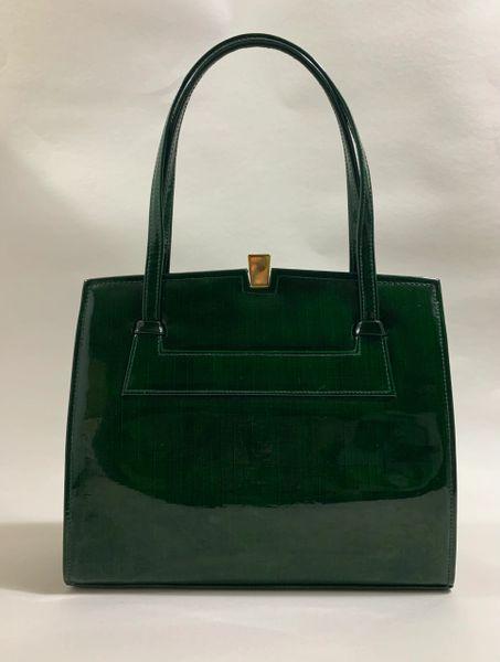 Debonair 1960s Vintage Handbag In Green Faux Patent With Buff Suede Lining