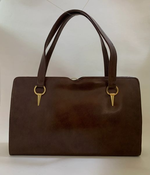 Czarina Large Brown Calf Leather 1950s Vintage Handbag With Buff Suede LIning.