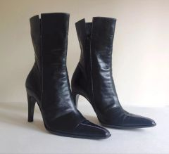 CASADEI Italian Black Mid Calf Leather High Heel Boots Size UK 3.5 EU 36.5 US 6