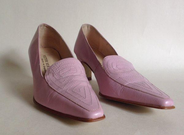 Victor Sebastian Pink Leather Slip On Loafer With Stitch Work Pattern UK 3 EU 36