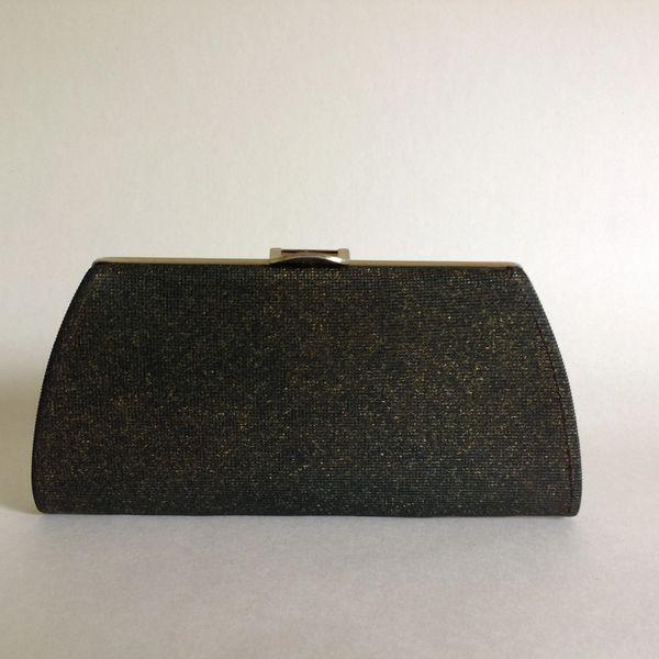 Small Black Gold Flecked Vinyl 1960s Vintage Coin Purse Clutch Bag - A004