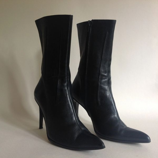 FREE PASS Black All Leather Calf Length Sexy High Heel Boots Size UK 3 EU 36