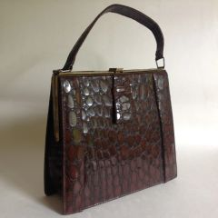 Vintage 1940s Chestnut Brown Synthetic Moc Croc Handbag Aged Faux Suede Lining