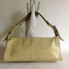 RI2K Lime Yellow Leather Adjustable Strap Shoulder Bag With Fabric Lining
