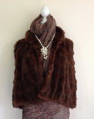 Thorpe & Crump Vintage 1930s Short Brown Fur Evening Cape Vintage Bolero