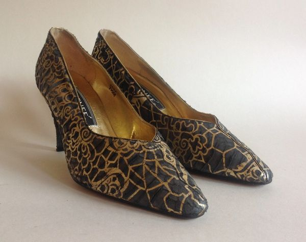 J Reneé Gold & Khaki Fabric Covered 1980s Vintage Court Shoe Size UK 5 EU 38