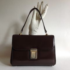 All Leather Brown 1960s Vintage Handbag With Milk Coffee Leather Lining