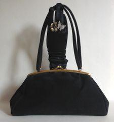 Essell Chamelope Black 1960s Vintage Handbag Gold Toned Frame Satin Lining