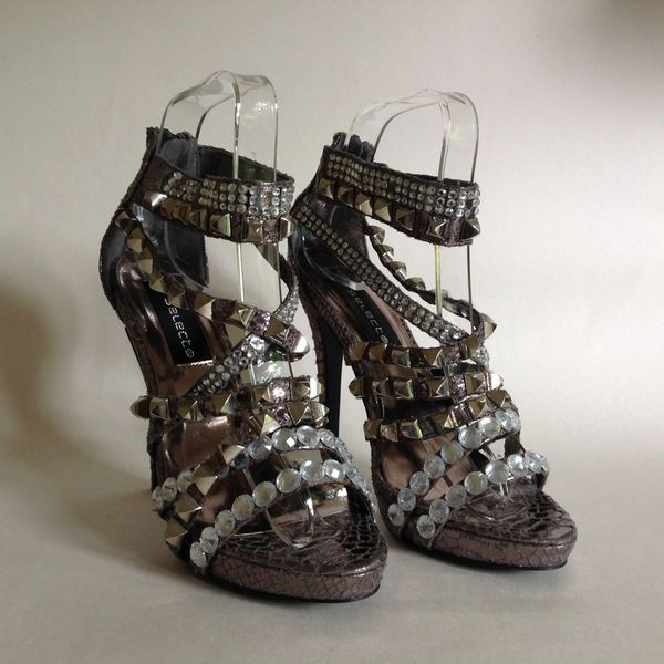 SELECT Silver Pewter Studded Diamanté Platform Evening Party Shoe UK 4 EU 37