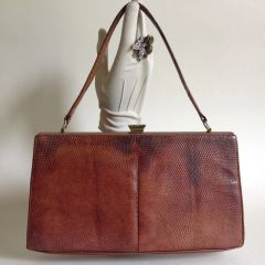 Waldybag Tan Lizard Skin Suede Lined 1950s Vintage Handbag Kelly Bag Mad Men
