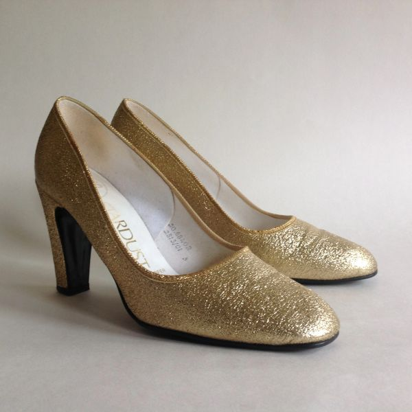 "Dolcis Stardust Vintage 1960s Gold Larmé Fabric Court Shoe 3"" Heel UK 3 EU 36"