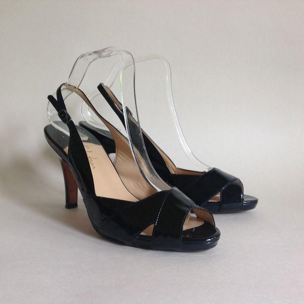 Cole Haan Black Patent Leather Nike Air Slingback Peep Toe High Heel Shoe UK 8 EU 41 US 10b.