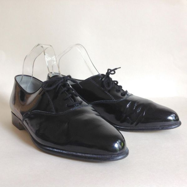 Marlone Black Hi Shine 1960s Vintage Men's Derby Dress Shoes Size UK 7