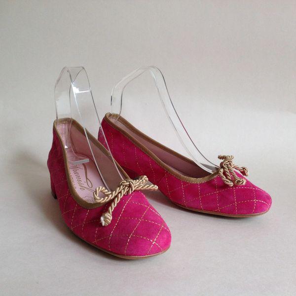 Spanish Ballerinas Hot Pink Suede Ballet Pumps Gold Corded Bows UK 4 EU 37