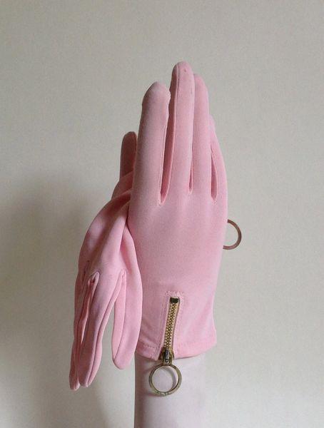 Prova Pink 1960s Stretch Nylon Zip Back Vintage Evening Mod GoGo Gloves Size 7