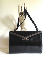 Black Leather 1970s Vintage Handbag Shoulder Bag Faux Suede Lining Elbief Frame