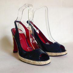 "RAVEL Dark Blue Patent Leather Slingback Peeptoe Shoe Rafia 4"" Heel and .5"" platform Size UK 3 EU 36"
