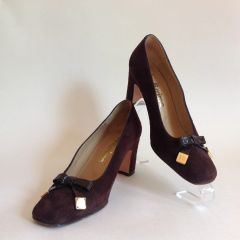 Paco Herrero Bellissima Brown Bow Fronted Suede Court Shoes Size 3.5 EU 36.5