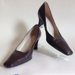 Carvela Brown Leather Heeled Vintage 1980s Work Formal Court Shoe UK 4.5 EU 37.5