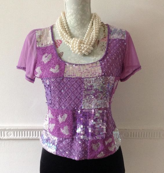 Aftershock Lilac Sequin Beaded Sheer Net Short Sleeve Evening Crop Top Size L 12