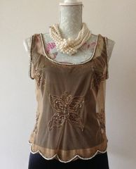 Atmosphere Camel Coloured Butterfly Patterned Beaded Pattern Sheer Sleeveless Over Top Size 12