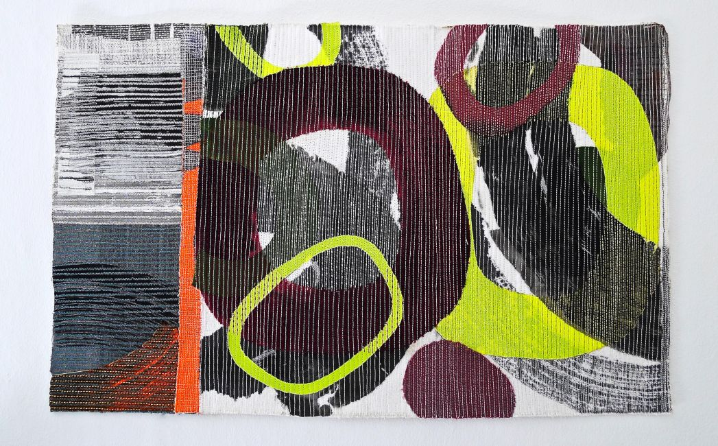 'Connection', Abstract textile wall piece, ink on layered stitched fabrics. Textile Art