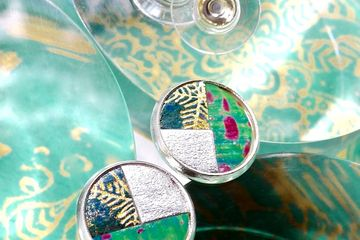 Handmade stud earrings, handcrafted from handpainted embossed paper. First Wedding Anniversary. Gift