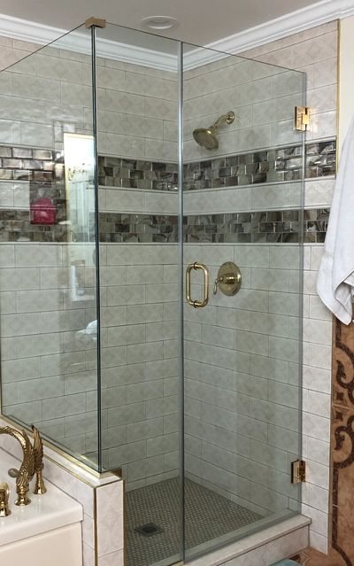 frameless glass shower enclosure with door