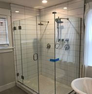 glass shower enclosure, heavy glass shower door