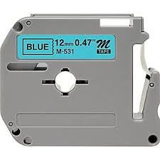 Brother MK531 Compatible RL-BR Black on Blue 12MMX8M Label Tape