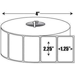 "Zebra DTK225X125 2.25"" x 1.25"", 1"" Core, Compatible Direct Thermal Labels Roll. 1135 pcs Per Roll"