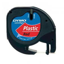 "Dymo 91333 Compatible Black on Red 1/2"" x 13' 12MM P-Touch Label Tape"