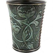 Turquoise Tooled Wastebasket