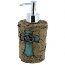 Rock Look w/ Turquoise Cross Soap/Lotion Pump