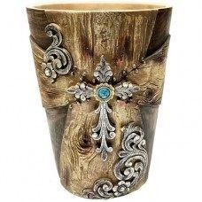 Wood Look w/ Flower Waste Basket